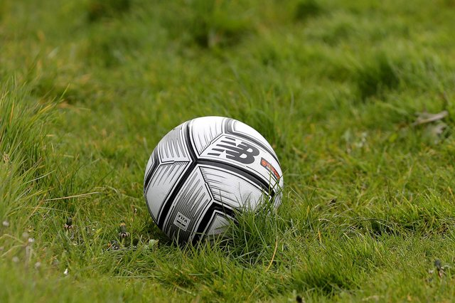 A general view of a match ball   during the Vanarama National League match between Hartlepool United and Maidenhead United at Victoria Park, Hartlepool on Saturday 8th May 2021. (Credit: Mark Fletcher   MI News)
