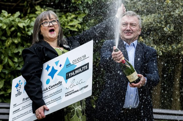 Frances Connolly and Patrick Connolly celebrate their windfall in January 2019.
