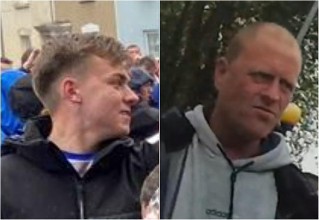 Police are looking to identify two men,  who they have labelled FB1, left, and FB2, right, in connection with the incidents./Photo: Avon and Somerset Police