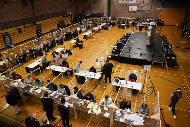 Counting teams busy at Hartlepool's Mill House Leisure Centre.