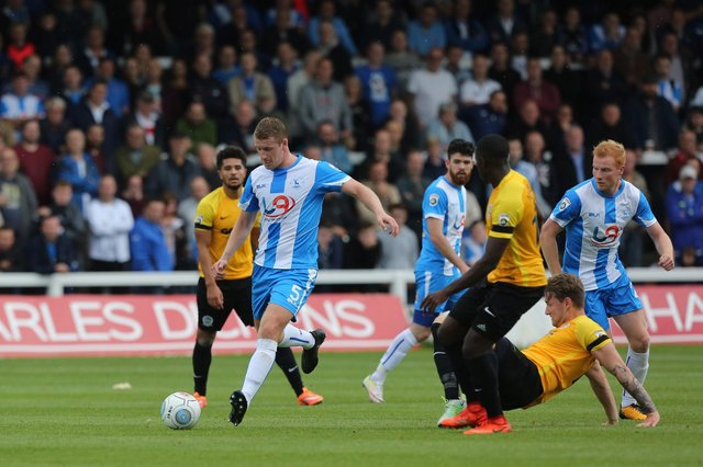 Scott Harrison of Hartlepool United clears from defence during the Hartlepool United vs Dover Athletic in the Vanarama National League match at Victoria Park.