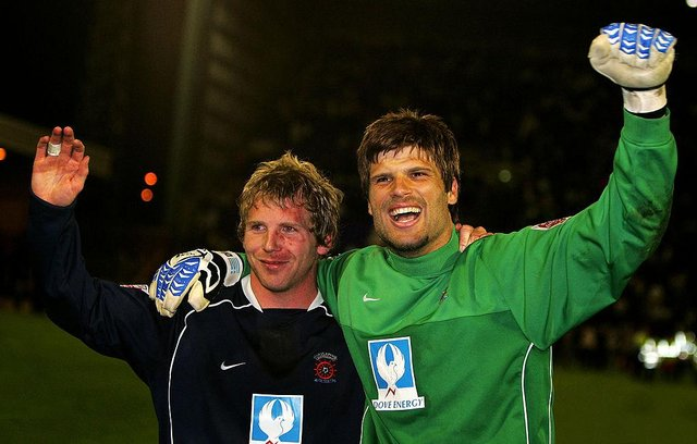 Ritchie Humphreys and Dimi Konstantopoulos of Hartlepool United celebrate a win in their League One semi-final, second leg play-off match against the Tranmere Rovers at Prenton Park May 17, 2005 in Tranmere, England.  (Photo by Bryn Lennon/Getty Images)