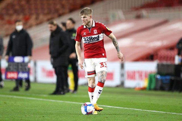 Hayden Coulson playing for Middlesbrough.