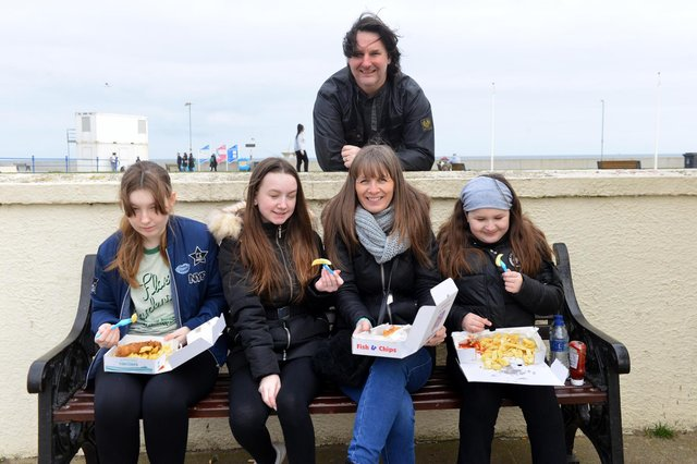 Out and about on Good Friday at Seaton Carew. Chris and Hannah Barlow with children from left Honour, 14, Imogen, 13 and Yasmin, 10.