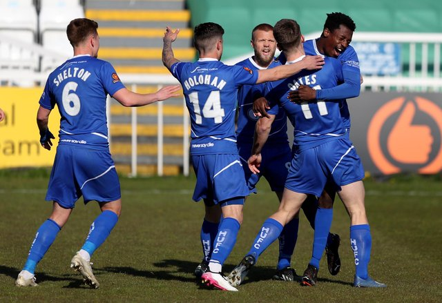 Rhys Oates of Hartlepool United celebrates with team mates after putting his side 1-0 up during the Vanarama National League match between Hartlepool United and Chesterfield at Victoria Park, Hartlepool on Saturday 1st May 2021. (Credit: Chris Booth | MI News)