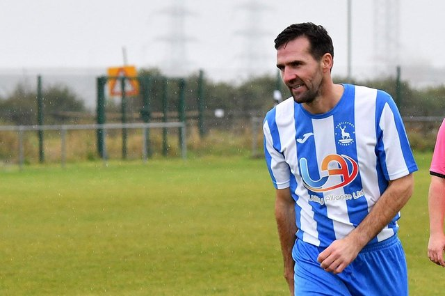Tommy Miller in action for a Hartlepool United legends side in 2019. Picture by FRANK REID