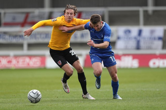 Rhys Oates battles for the ball.  Mark Fletcher | MI News & Sport Ltd