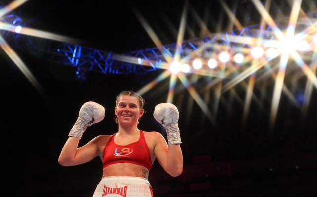 Savannah Marshall celebrates her victory during the super-middleweight clash against Daniele Bastieri.