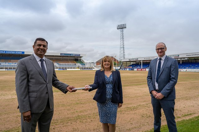 Pools chairman Raj Singh with Hartlepool Borough Council managing director Denise McGuckin and leader Cllr Shane Moore at Victoria Park.