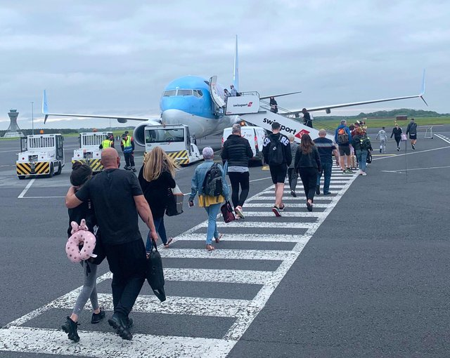 The first flight from Newcastle Airport to Portugal took off this morning.