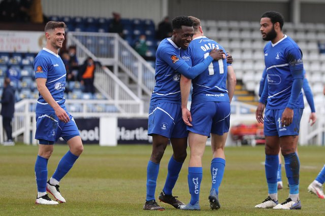 Rhys Oates of Hartlepool United celebrates after scoring their first goal  during the Vanarama National League match between Hartlepool United and Maidenhead United at Victoria Park, Hartlepool on Saturday 8th May 2021. (Credit: Mark Fletcher | MI News)