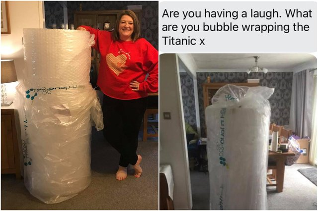 Joane Griggs with the huge roll of bubble wrap and husband Malcolm's message to her when it arrived.