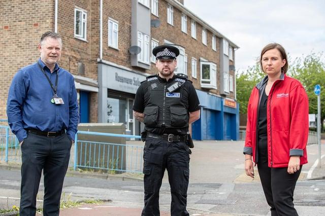 Thirteen's tenancy enforcement co-ordinators John Grace and Claire Spencer with Cleveland Police's Hartlepool Neighbourhoods Inspector Danny Trippett.