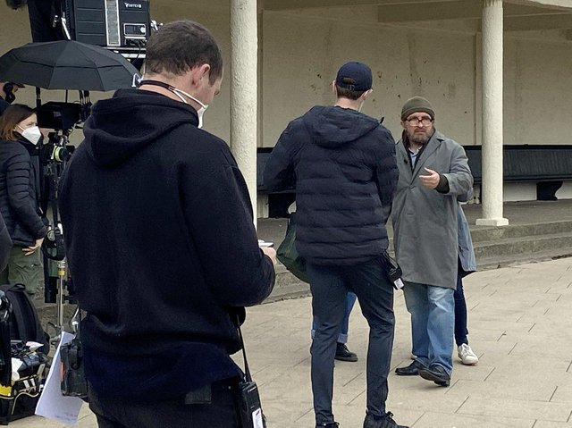 Eddie Marsan, far right, plays canoe conman John Darwin in a new production being filmed at Seaton Carew.