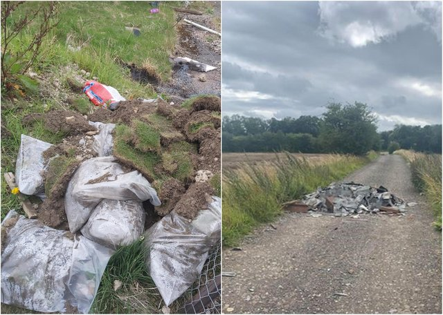 The me were hit with fines and costs totaling more than £3,000 for flytipping after being caught on CCTV