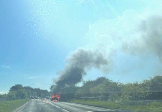 A Mail reader sent us this picture of the car blaze on the A179 on Wednesday morning.