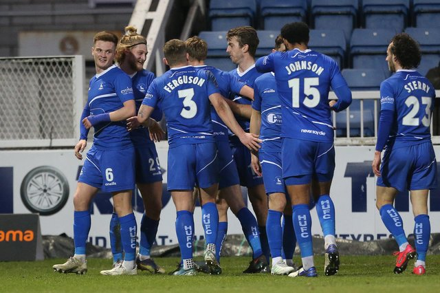 Hartlepool United's Luke Armstrong celebrates after scoring their first goal   during the Vanarama National League match between Hartlepool United and Barnet at Victoria Park, Hartlepool on Saturday 27th February 2021. (Credit: Mark Fletcher   MI News)