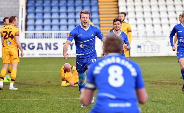 Rhys Oates celebrates scoring the winner for Hartlepool United against promotion rivals Sutton United at Victoria Park (photo: Frank Reid).