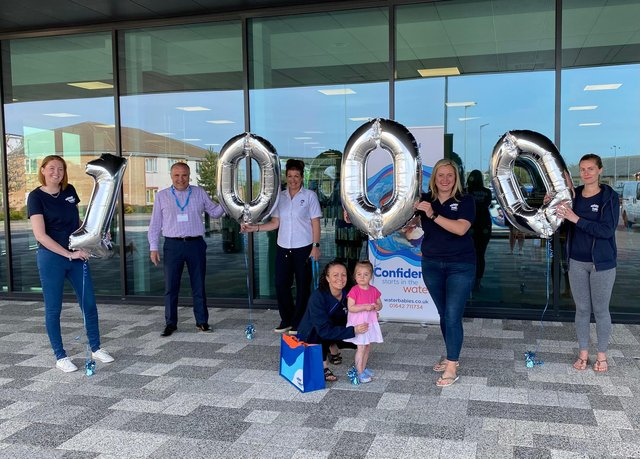 Water Babies celebrates its 1,000th young swimmer. Pictured from left are Debbie Smith (Water Babies) Neil Drew (Ingleby Barwick Leisure General Manager), Helen Eyeington (Ingleby Barwick Leisure, Duty Manager), Laura Blewitt (Water Babies), Darcy Webster, Pamela Hargreaves (Water Babies Chief Executive) and Riccy Bradshaw(Water Babies).