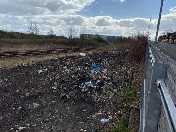 Some of the rubbish near the railway line