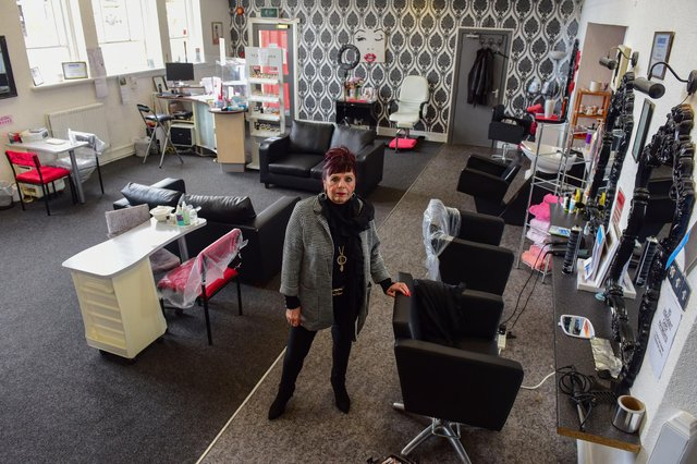 Lynne Devine at her salon, Shapers for Devine Hair and Beauty, in Church Square, Hartlepool, which has suffered two burglaries in recent months.