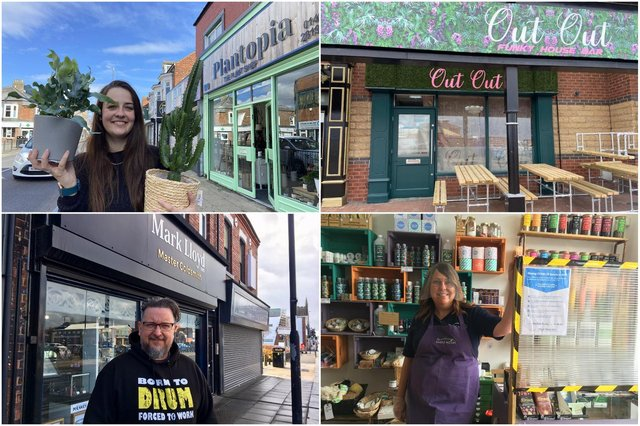 Just some of the Hartlepool businesses taking part in June's Fiver Fest. Clockwise: Emily Vaughan from Plantopia in York Road, Out Out bar at Nabigation Point, Lesley Mulcahay of The Simple Way, Villiers Street and jeweller Mark Lloyd outside his Park Road premises.