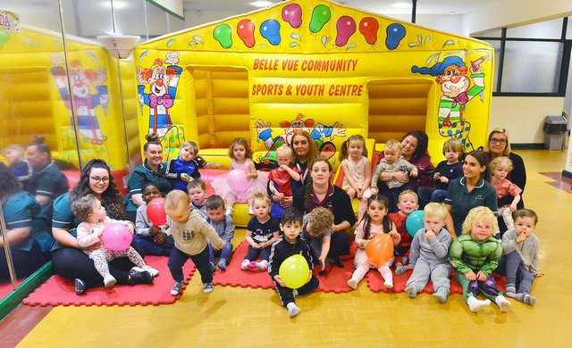 Staff and children at the Little Treasures Day Nursery's seventh birthday party held in the Belle Vue community Centre.