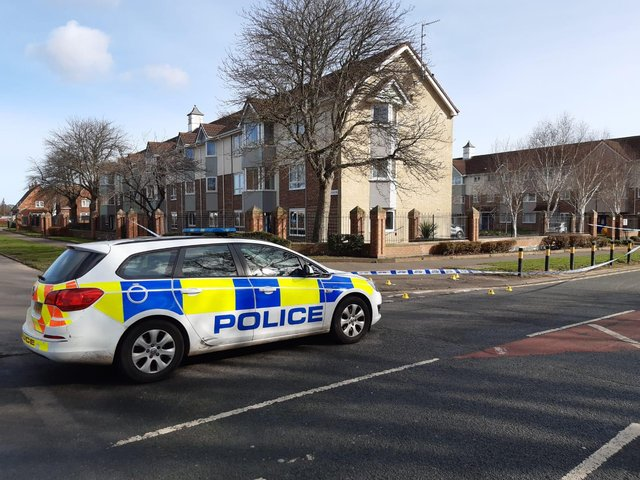 Police at the scene of the incident in Hartlepool's Rossmere Way.