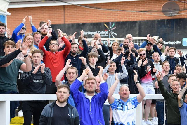 Hartlepool United fans at the wend of the game.Hartlepool United 3-2 Bromley FC National League Playoff. 06-06-20212. Picture by FRANK REID