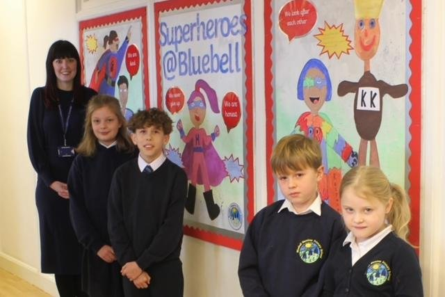 From left, Bluebell Meadow Primary's deputy head teacher Emma Allison with Year 5 pupils Alethea May and Connor Wilkinson and Year 2 pupils Finley Storey and Alice Musgrave.