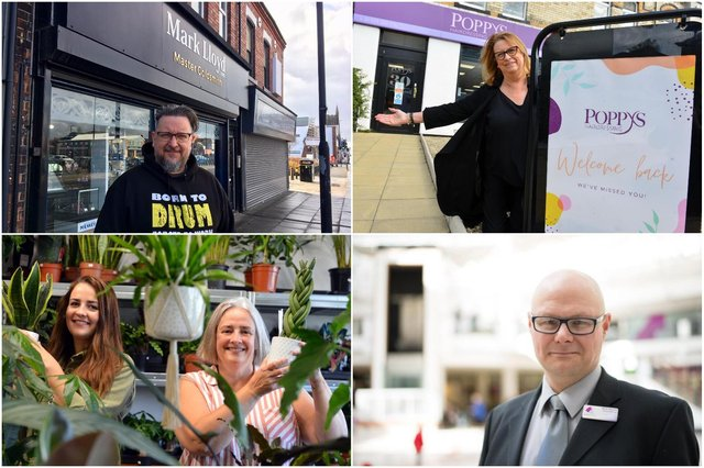 Clockwise from top left: Jeweller Mark Lloyd, Janice Auton of Poppys Hairdressers, Middleton Grange manager Mark Rycraft and Emily and Linda Vaughan of Plantopia.