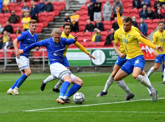 Luke Armstrong fires Hartlepool United in front against Torquay United