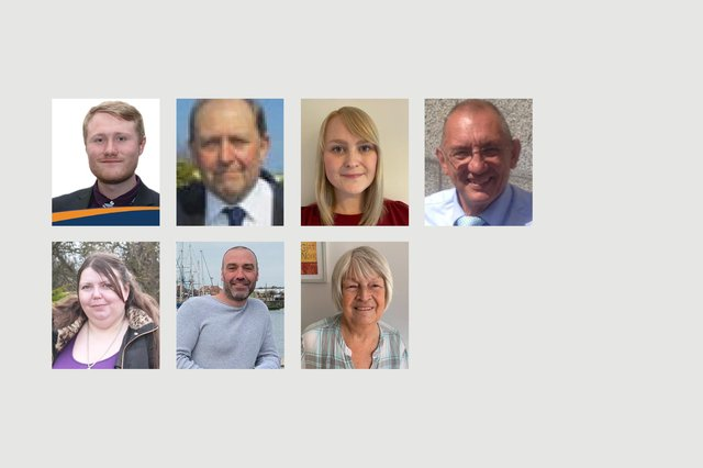 Left to right, Fens and Greatham election candidates. Back row, James Brewer, Bob Buchan, Jennifer Elliott and Jim Lindridge. Front row, Angela Swinbourne, Paul Tucker and  Ann Tweedy. The remaining candidates did not supply pictures.