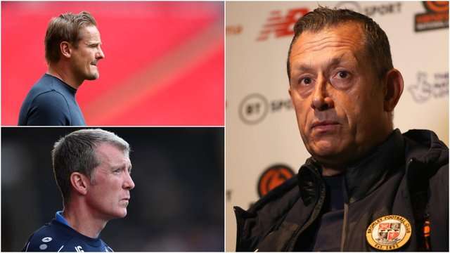 Neal Ardley (top left), Neil Smith (right) and Jim Gannon (bottom left) have all lost their jobs in recent months (photos: Getty)