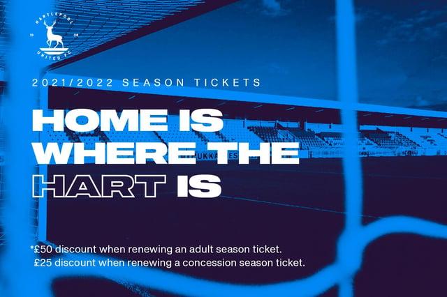 Hartlepool United season ticket offer.