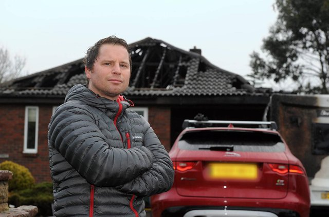 Sean Ivey outside his home in Wingate which was destroyed in two arson attacks