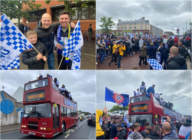 Fans turned out to celebrate Hartlepool's promotion.