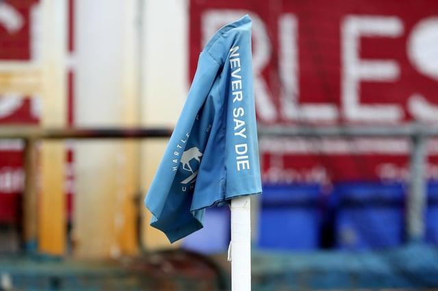 Never Say Die - corner flag at Victoria Park. (Credit: Mark Fletcher   MI News)