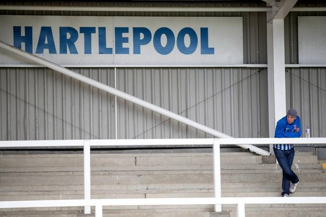 Hartlepool United fan at Victoria Park (Photo by Steve  Welsh/Getty Images)
