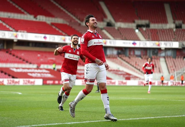 Grant Hall of Middlesbrough celebrates after scoring against Stoke.