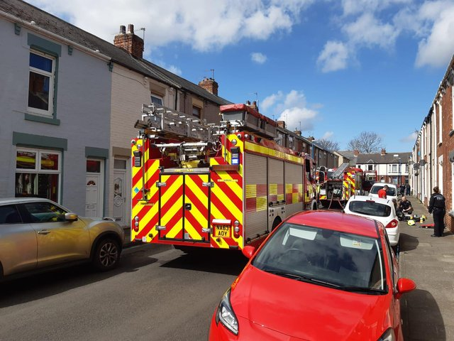 The fire brigade in Wilson Street on Tuesday morning.