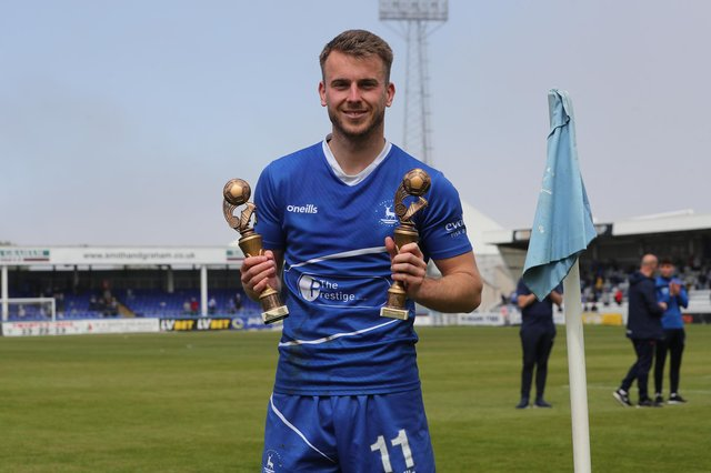 Hartlepool United's Rhys Oates with his player of the season award during the Vanarama National League match between Hartlepool United and Weymouth at Victoria Park, Hartlepool on Saturday 29th May 2021. (Credit: Mark Fletcher | MI News)