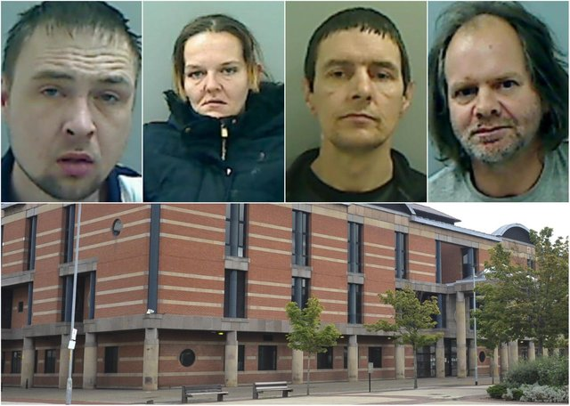 Top, just some of the Hartlepool criminals jailed recently. Bottom, Teesside Crown Court.