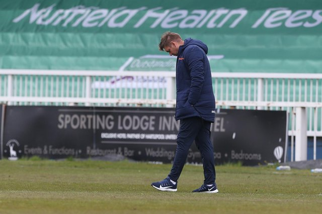 Hartlepool manager, Dave Challinor after the final whistle of the Vanarama National League match between Hartlepool United and Maidenhead United at Victoria Park, Hartlepool on Saturday 8th May 2021. (Credit: Mark Fletcher | MI News)