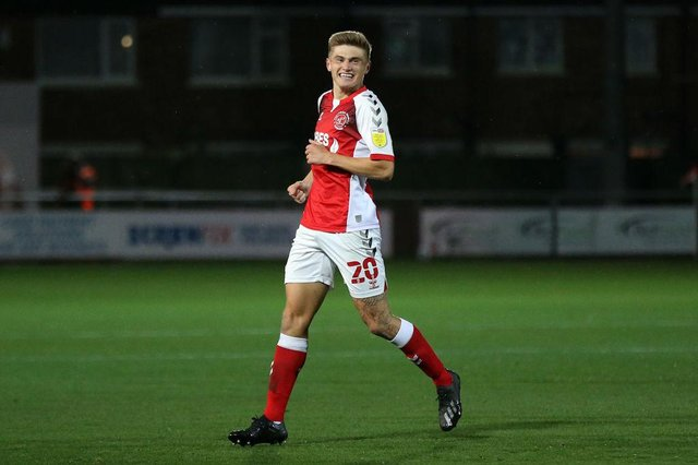 Harvey Saunders of Fleetwood Town celebrates scoring his sides first goal during the Sky Bet League One match between Fleetwood Town and Hull City at Highbury Stadium on October 09, 2020 in Fleetwood, England (Photo by Lewis Storey/Getty Images)