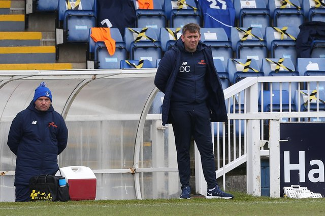 Hartlepool manager, Dave Challinor  during the Vanarama National League match between Hartlepool United and Maidenhead United at Victoria Park, Hartlepool on Saturday 8th May 2021. (Credit: Mark Fletcher   MI News)