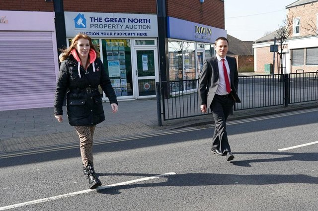 Dr Paul Williams, Labour Party candidate for Hartlepool and Angela Rayner, Deputy Leader and Chair of the Labour Party walk through town as they go to visit a covid vaccination centre at Hartlepool Town Hall (Photo by Ian Forsyth/Getty Images)