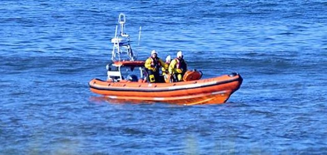 Hartlepool RNLI inshore lifeboat 'Solihull' and volunteer crew pictured at the scene of the incident.