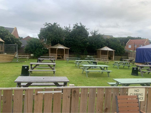 The grassed area at the Raby Arms offers 32 tables in total/Photo: Raby Arms Facebook
