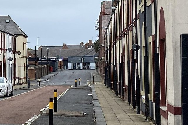 A library picture of Dent Street, in Hartlepool, where a dark car was driven at a police officer while they were talking to a member of the public earlier this week.